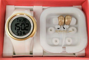 Relógio Speedo Branco Dourado Feminino 8058 Loevnp1+brinde