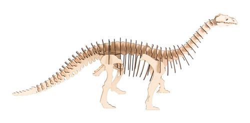 Imagen 1 de 6 de Dinosaurio P/armar 3d En Fibro Fácil Brontosaurio