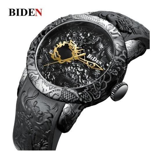 Relógio Preto Masculino Dragão Luxo Biden Promoção + Barato