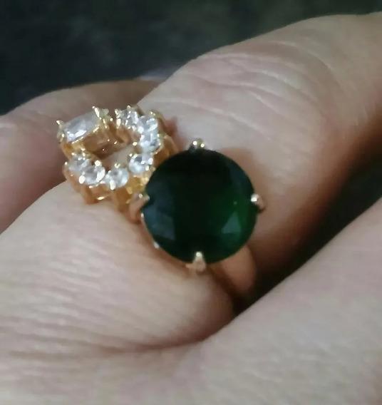 Anel Pedra Verde Esmeralda Folheado A Ouro