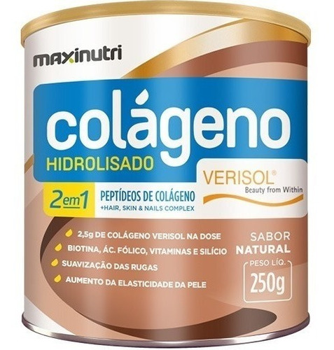 Imagem 1 de 3 de Colágeno Hidrolisado 2 Em 1 Verisol Natural 250g - Maxinutri