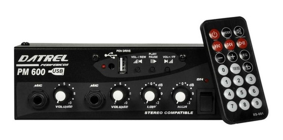 Mixer Automotivo Datrel C/ Usb 12v Pm600 Som Automotivo Pend