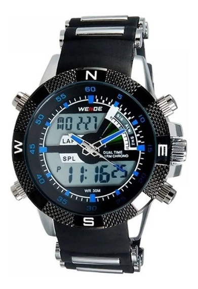 Relógio Masculino Weide Anadigi Wh-1104 Prata E Preto