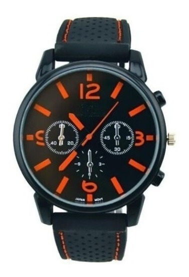 Relógio Masculino Gt Sport Preto E Laranja Ou Vermelho