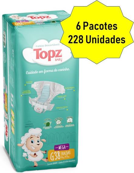 Kit Fralda Topz Baby Descartável Mega Pacotão Tam G 228 Unid