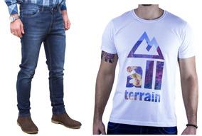 Kit Masculino Camisa Malha Branca E Calça Jeans All Terrain
