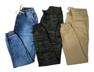 Kit 7 Calças Jeans Camuflada Masc Jogger Com Punho Elastico