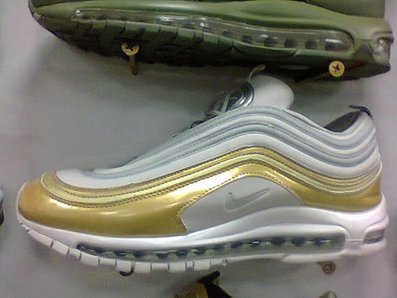 Tenis Nike Air Max 97 Branco E Dourado Nº38 A 43 Original