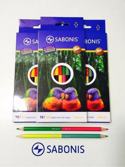 Lápices De Colores Bicolor 12=24 Marca Sabonis