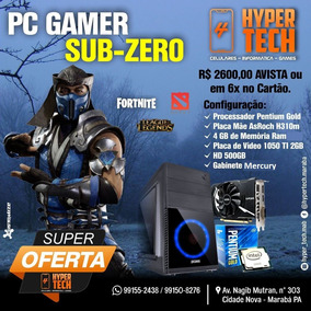 Pc Gamer Sub-zero - Pentuim Gold - Gtx1050 Msi 2gb - 4gb Ram