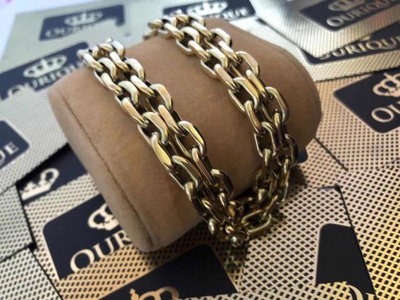 Corrente Masculina Modelo Cadeado Ouro 18k 750 25 Gramas
