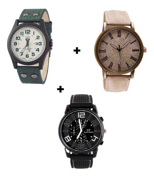 Kit 3 Relógios Masculinos Ótimo Presente Para Militar Barato