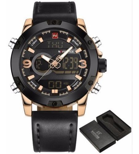 Relógio De Luxo Naviforce C/ Pulseira De Couro, Presentei!!!