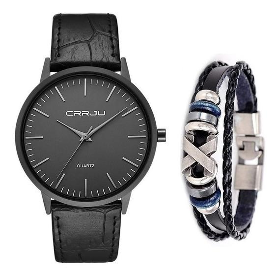 Relógio Masculino Ultra Fino Social Luxo + Pulseira De Couro