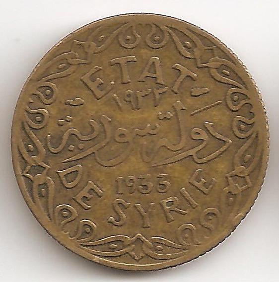 Siria Francesa, 5 Piastres, 1933. Vf
