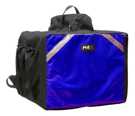 Mochila Bag Preta Azul Para Pizza Pizzarias Sem Caixa Isopor