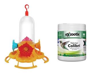 Combo Bebedero Colibri Picaflor 4f + Nectar Vitaminico 300gr
