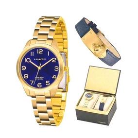 Relógio Lince Feminino Kit Pulseira De Couro Lrg4459l Kt78d