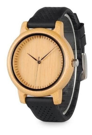 Relógio De Madeira Bambu Feminino E Masculino