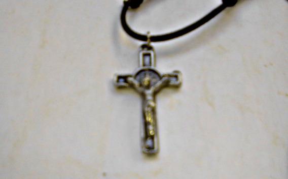 Cordão Regulável Pingente Jesus Na Cruz Folheado Níquel