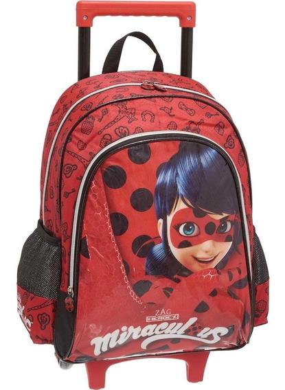 Mochila Infantil Miraculous Com Rodinha + Lancheira Ladybug