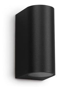 Difusor Bidireccional Negro Cilindro Gu10 Exterior Aplique Fijo Pared