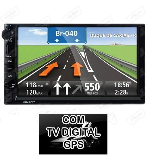 Multimídia Universal Gps Tv Digital Tela 7 Bt 2din Câmera Ré