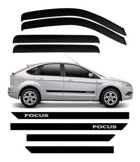 Kit Friso Tipo Borrachão Ford Focus Hatch + Calha De Chuva