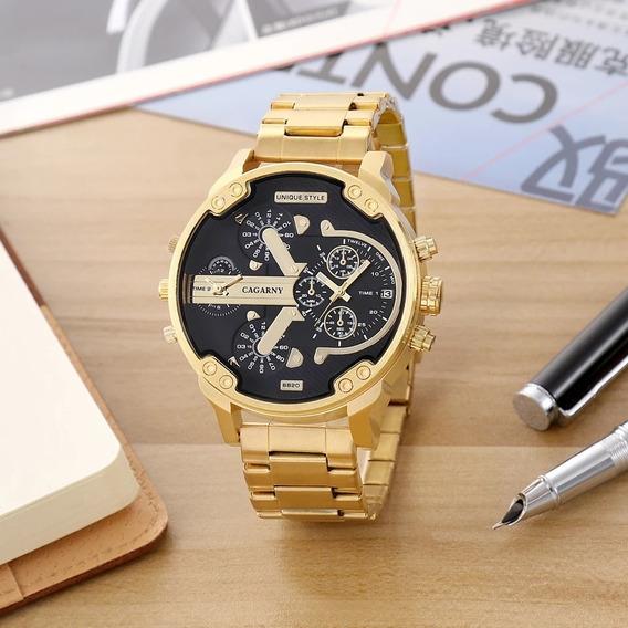 Relógio Masculino Grande Dourado Inox Original Com Caixa