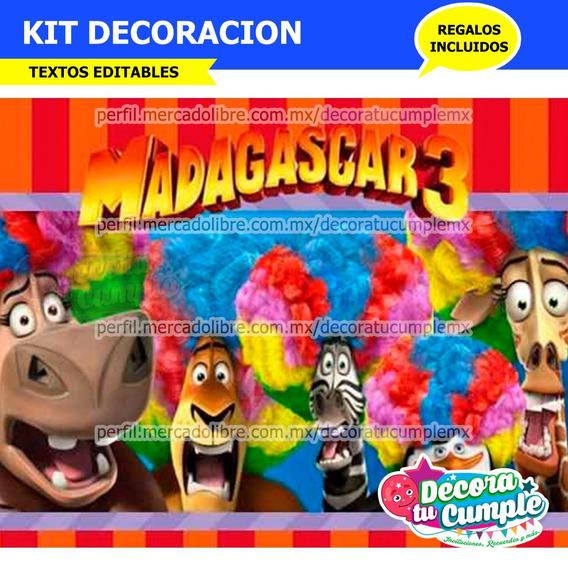 Invitaciones Madagascar Kit Imprimible Cumpleanos