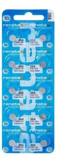 10 Pilhas Baterias 364, Relógio 1.55v Renata Sr621s Original