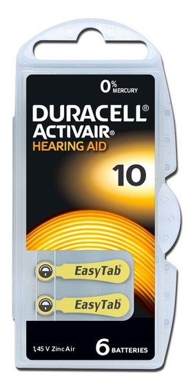 6 Baterias Pilhas Aparelho Auditivo Duracell 10 Pr70
