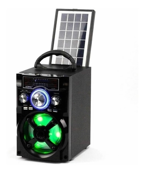 Caixa Som Portatil Solar Lelong Radio Am/fm Bluetooth