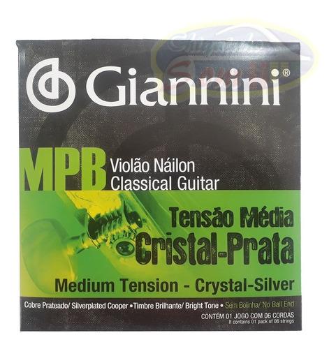 Imagem 1 de 3 de Encordoamento Mpb Nylon Classico Giannini Cristal Prata