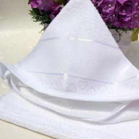 Toalha De Banho Para Bebê Com Capuz Para Bordar Branca - Doh
