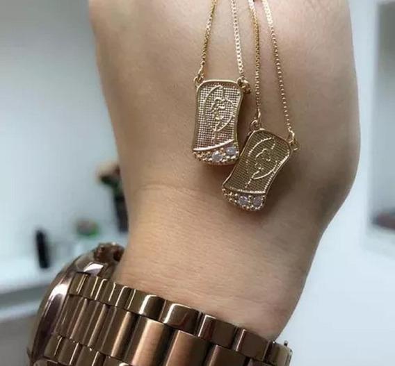 Escapulário Virgem Maria Nossa Senhora Folheado A Ouro 18k
