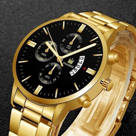 Relógio De Pulso De Quartzo Moda Relógios De Aço Inoxidável