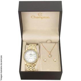 Kit Relógio Champion Feminino Cn27287w Colar E Brincos