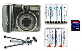 Câmera Fotográfica Digital Canon 8 Mp Pilhas Cartão Tripé