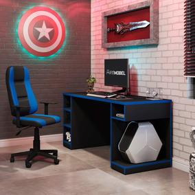 Conjunto Mesa Gamer Pro 5 Nichos E Cadeira Gamer Onix Ea