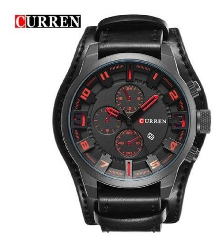 Relógio  Masculino  Curren  8225- Original  Couro  Bracelete