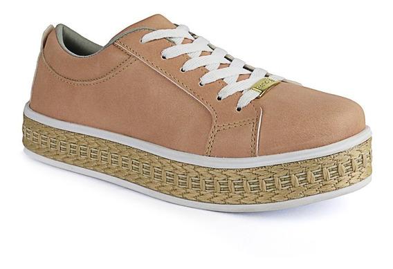 Tênis Plataforma Flatform Cr Shoes Feminino 4034 Brancopalha