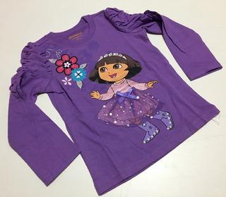 Camiseta Lilás Estampada C/glitter Manga Longa - 2 Anos