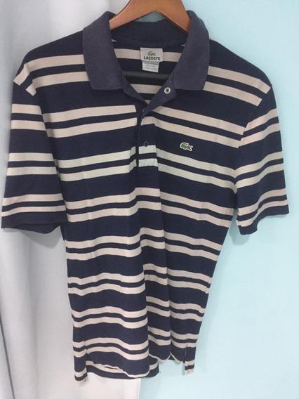 Lacoste Camisa Polo Masculina M Listrada Azul Marinho Cinza