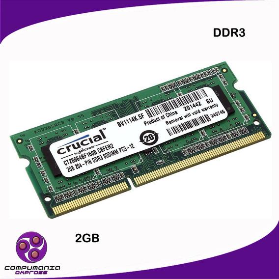 Memoria Ddr3 2gb Para Laptop Crucial Pc3-10600 Nuevo Tienda!