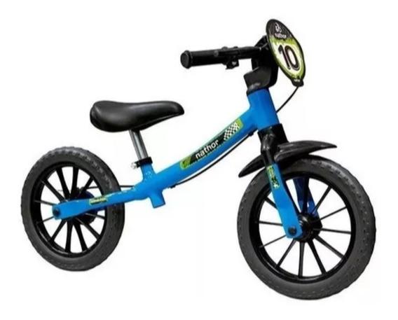 Bicicleta Aro 12 Infantil Equilibrio Nathor Sem Pedal Azul