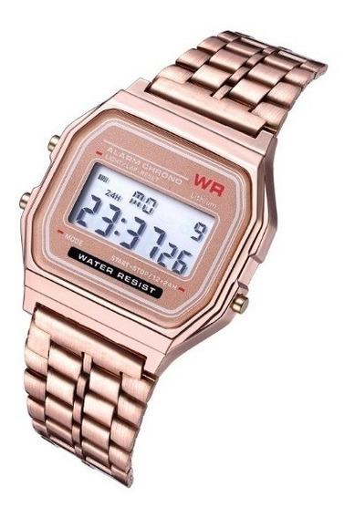 Reloj Retro Led Digital Para Dama Rosa