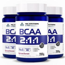 3 Frascos (600g) Bcaa Puro Nutrition Labs Em Pó - Laudo, Nfe