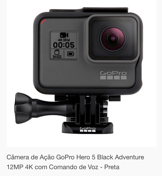 Câmera Gopro Hero 5 Black Adventure 12mp 4k Comando De Voz