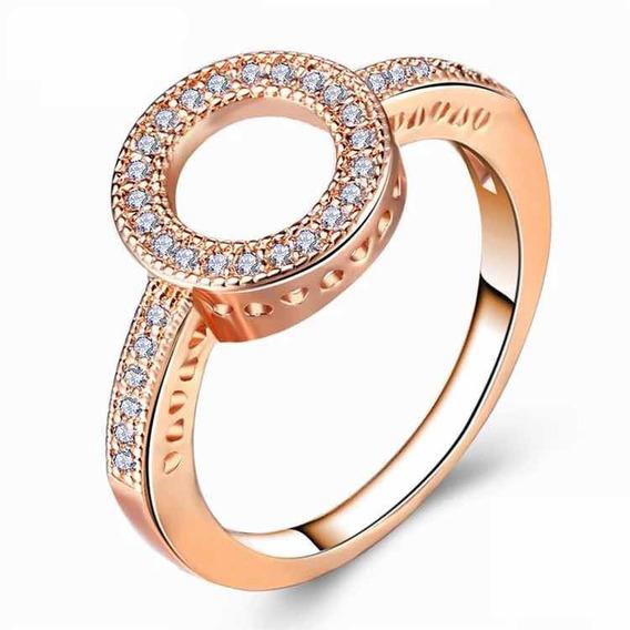 Anillo Chapa Oro Rosa Con Cristales Swarovski Estilo Pandora